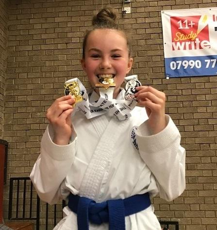 Sutton CP School pupil Emily Moran won two golds and one silver at the Halifax Open Karate Championships