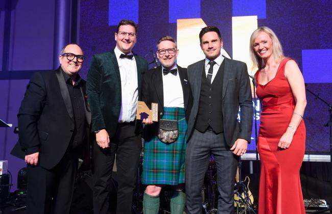 John Green, second from right, health and safety co-ordinator with Manningham Housing Association, and Gas Tag representatives at the Northern Housing Awards (photo: UKBE and Joe Gardner Photography)