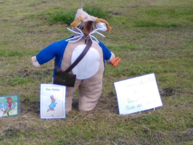Peter Rabbit, created by pupils from Long Lee Primary School, came third in the village's annual Scarecrow Trail.