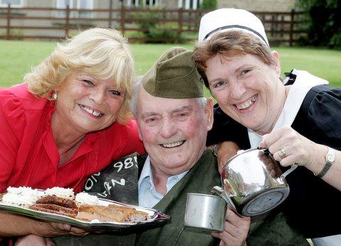 Keighley News: l Resident Wilf Pickles, with Pat Atkinson, and Carol Manditsch