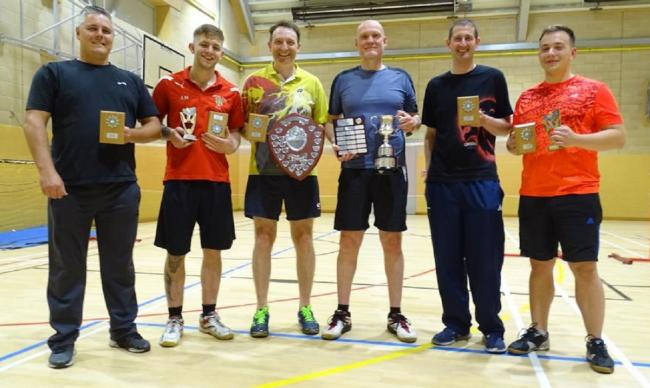 From left, Keighley Phoenix Badminton Club's Roger Hewitt, Adam Moor, Craven League captain Jason Bond, Bradford captain Paul Singleton, David Broadley and Eryk Dogoda. Not pictured: Gary Kemp