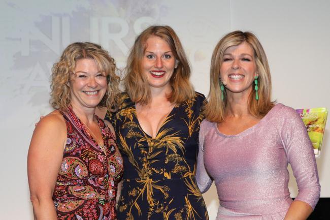 Amy Dugdale, centre, with Karen Roberts, left, and TV and radio presenter Kate Garraway at the awards ceremony