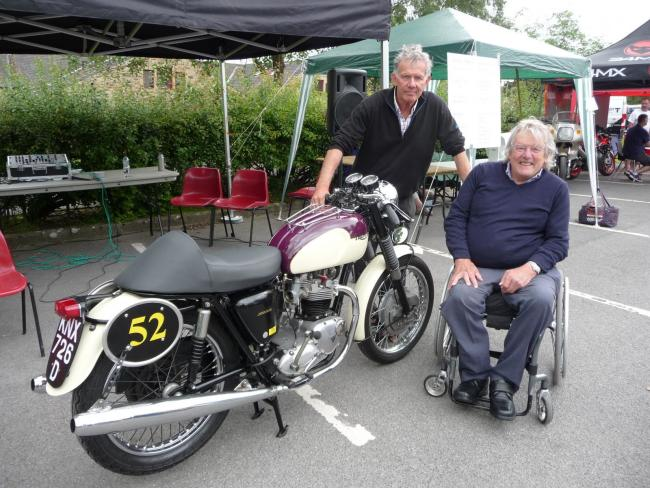 Tony Jefferies, seated, with brother Nick and the motorcycle he built