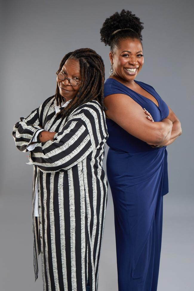 Whoopi Goldberg with Sister Act stage star Brenda Edwards. Picture by Matthew Murphy