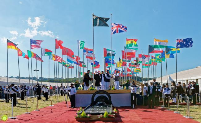 The flag-hoisting ceremony at a previous conference