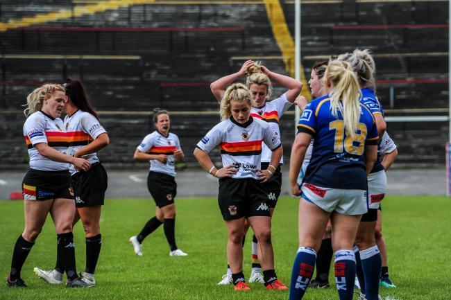 Bradford Bulls Women looking disappointed during a 24-4 defeat to Leeds Rhinos Women in 2019 Picture: Tom Pearson