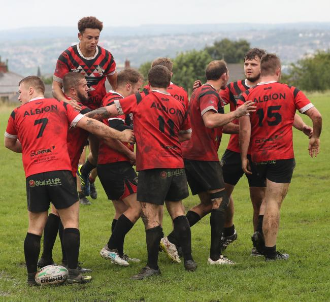 Keighley Albion celebrate a try last season Picture: Alex Daniel Photography