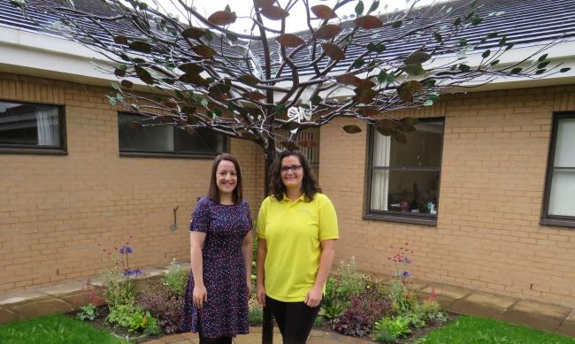 Sarah Greenwood, left, of Airedale Chemical, with Dawn Wright, from Airedale Hospital's bereavement team