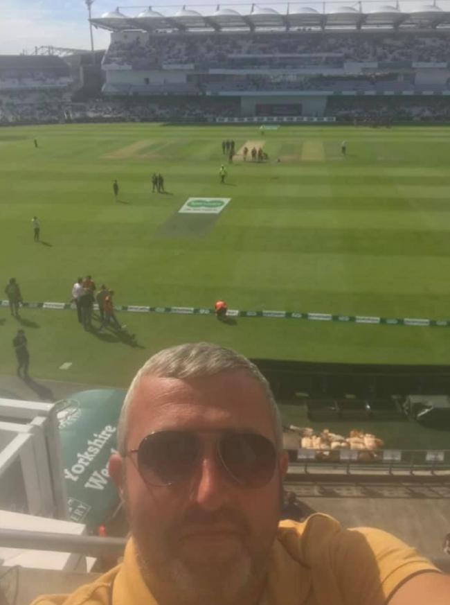 Lee Bailey, of Crossflatts Cricket Club's second team, takes a quick selfie before the start of the fourth day's play of the third Ashes Test at Headingley last Sunday.