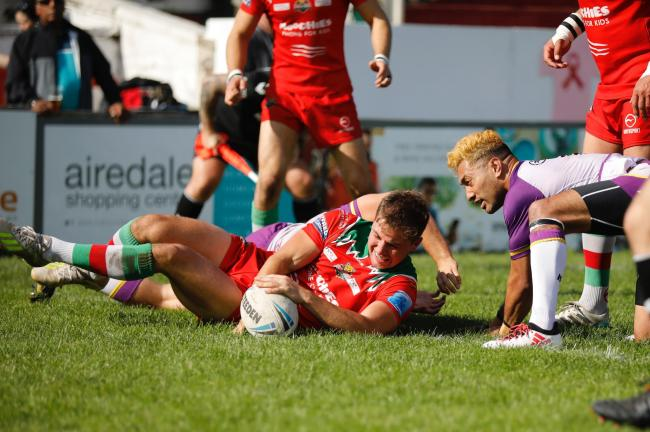 Taylor Prell goes over for a try in Keighley Cougars' 32-22 defeat to Newcastle Thunder in Betfred League One at Cougar Park. Picture: Charlie Perry