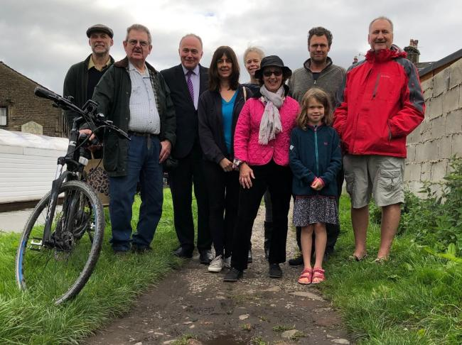 MP John Grogan and Silsden mayor Councillor Michael O'Dwyer , second from left, join campaigners on the towpath