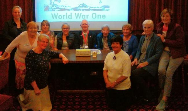 Speaker John D Anderson with Soroptimist members