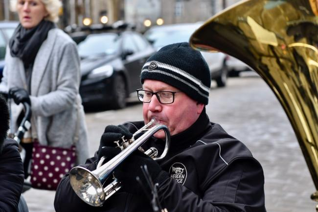 Brass bands play in Haworth as part of their annual Christmas weekends