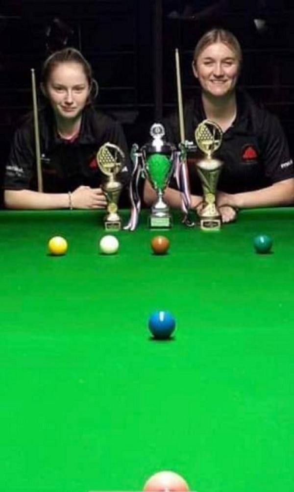 Rebeca Kenna, right, lines up after winning the Yorkshire Ladies Snooker Championship. Picture: MintProductions.com