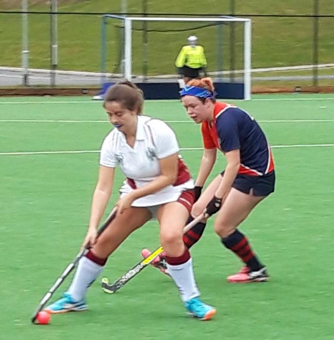 Airedale Hockey Club's Kate Armitage, right, in actionm during her side's 5-0 defeat to the University of Leeds