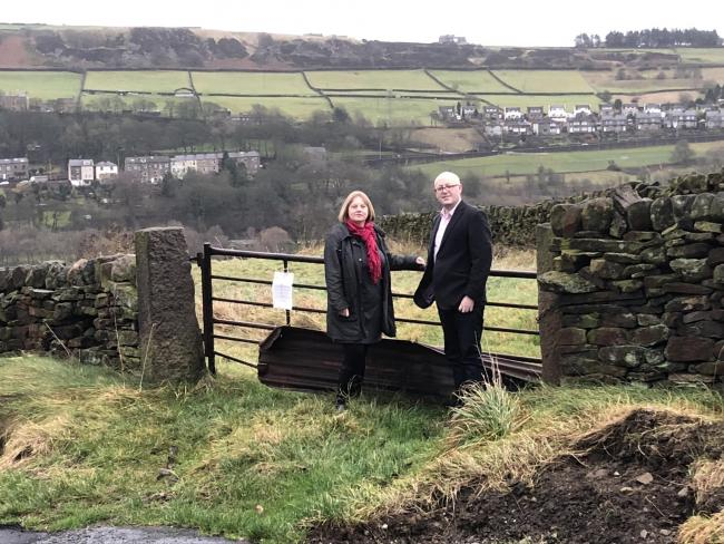 Councillors Rebecca Poulsen and Adrian Farley at the Goose Cote Lane site