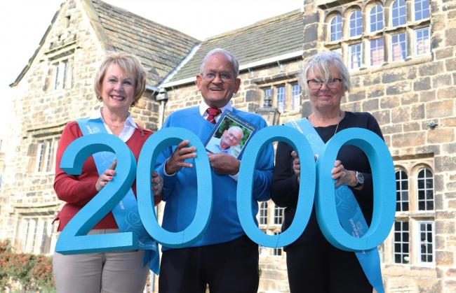 Yorkshire Cancer Research Keighley Committee members Carole Fay and Val Broughton with Charlie Bhowmick