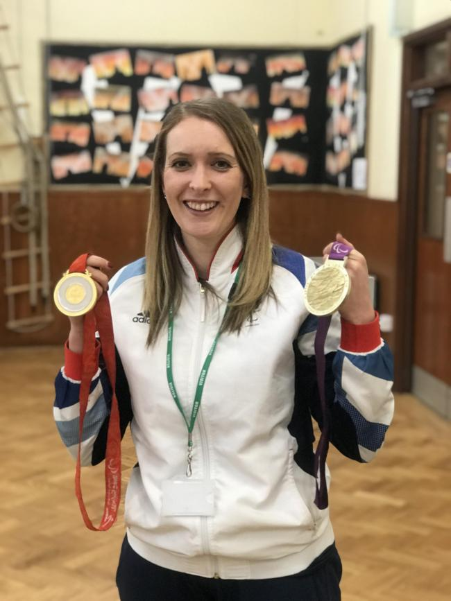 Paralympics champion Danielle Brown visited Glusburn Primary School