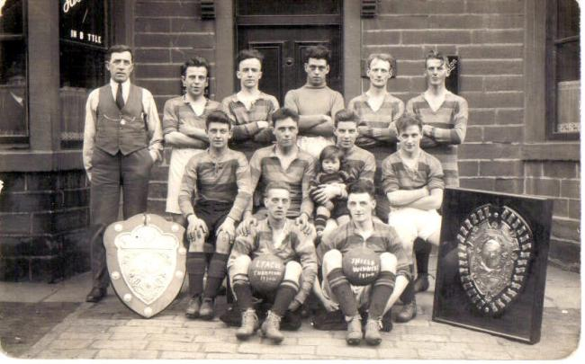 Wilsden FC from 1931 featuring future England international Jeff Hall as mascot (for Weeklies SPort).