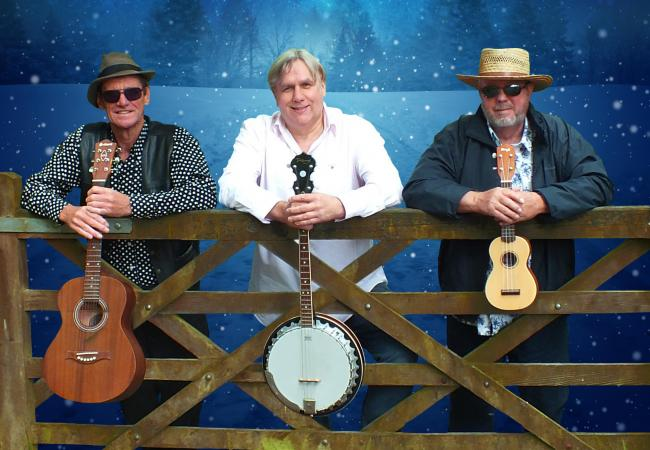 The Houghton Weavers on tour with, from left, Jim Berry, Steve Millington and David Littler