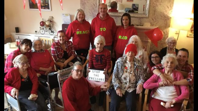 Croft House residents and staff together at the care home's Stop the Pressure Day.