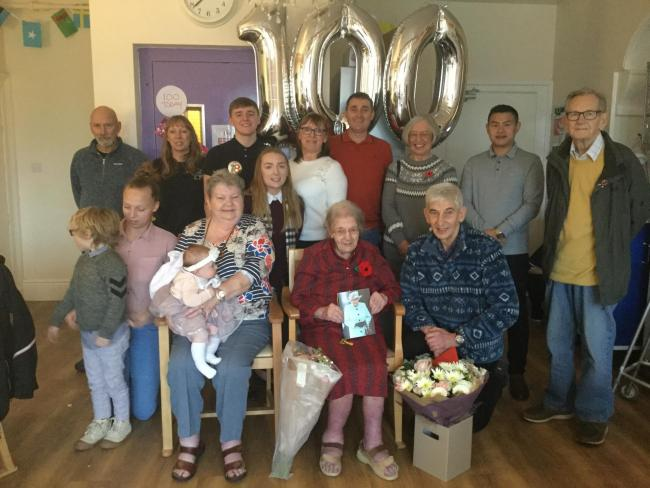Anise Strom celebrates her 100th birthday with fanily and staff and fellow residents of Croft House Care Home in Eastburn