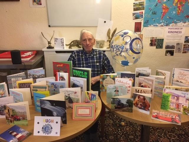 Hugh Myers-Dickinson with his birthday cards