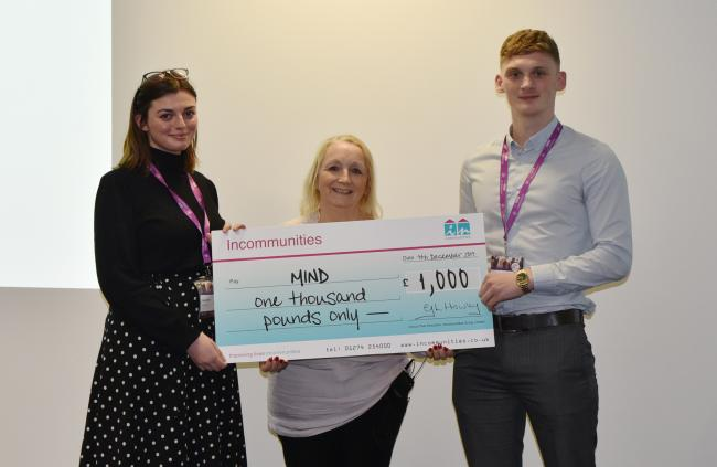 Aileen Evans, centre, receives a cheque from Incommunities GEM recruits Cara Loukes and Jai Kay at The Big Conversation