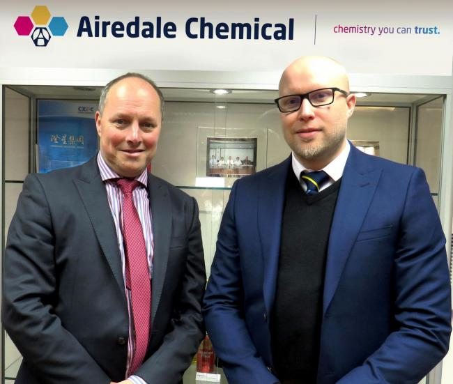 Marc Ballmann, left, of BRB International, and Airedale Chemical's Daniel Marr