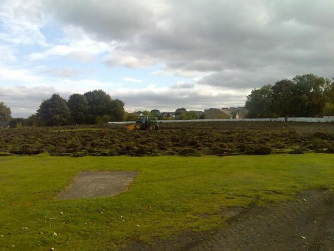 The levelling work at Hepworth & Idle cricket ground