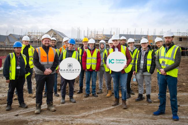 The Keighley College group with Barratt workers at the site