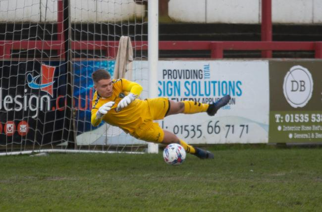 Steeton goalkeeper Fletcher Paley made a bad error which cost his side against Bacup, though he also pulled off a superb late penalty save Picture: John Chapman