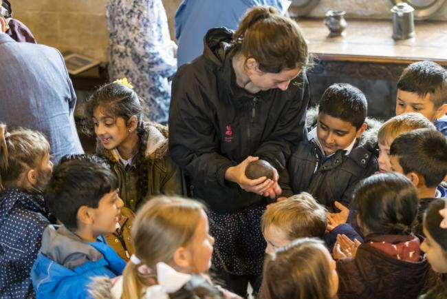 Children on a school trip at East Riddlesden Hall, West Yorkshire. Picture by National Trust IMages/Chris Lacey