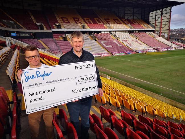 Nick, with his cheque for Manorlands, and Ian Ormondroyd, chief executive of the Bradford City Community Foundation