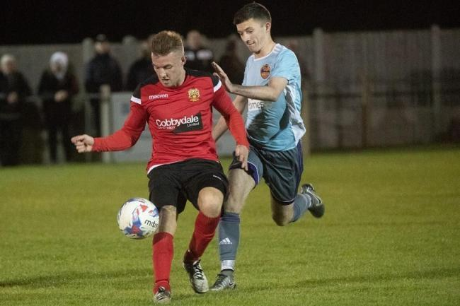 The returning Kyle Hancock (red) could be a key player for Silsden during their end of season run in Picture: David Brett