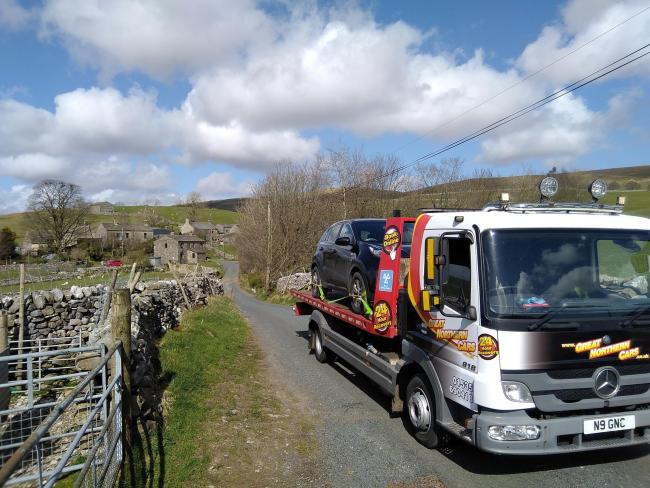Great Northern Cars recovers an NHS worker's vehicle at Horton-in-Ribblesdale