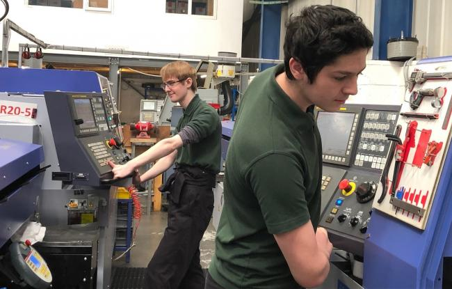 Yorkshire Precision Engineering Ltd apprentices Sam Steventon, left, and Daniel Fuller