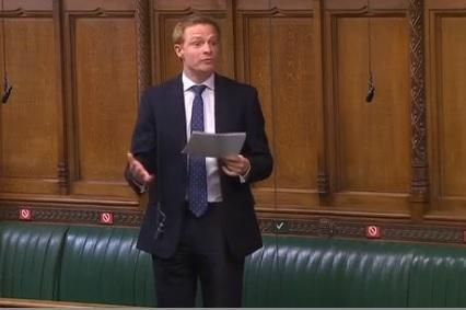 MP Robbie Moore speaking during Prime Minister's Questions
