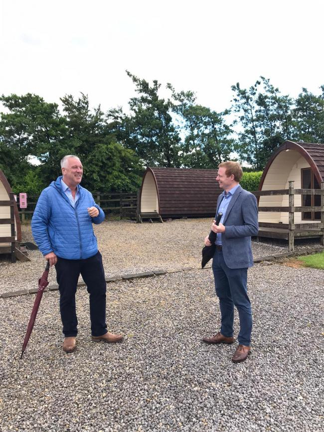Robbie Moore, right, with Frank Towers of Upwood Holiday Park, Oxenhope, which is among those planning to reopen