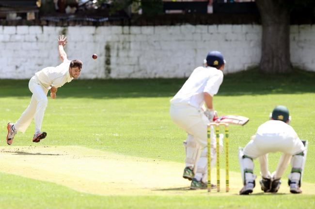Otley's Nathan Goldthorp (left) starred with ball and bat, as did Stephen Brown, in their side's five-wicket win over Addingham Picture: Chris Booth