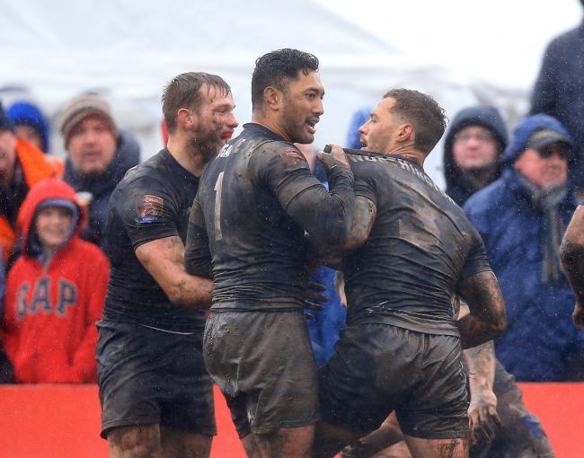 Quentin Laulu-Togaga'e (centre) will want to kickstart Keighley's journey up the leagues like he did with Toronto back in 2017. Picture: PA.
