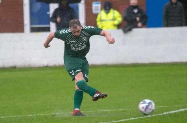 Ben Wignall fires home a first half equaliser for Steeton from a free-kick Picture: John Chapman
