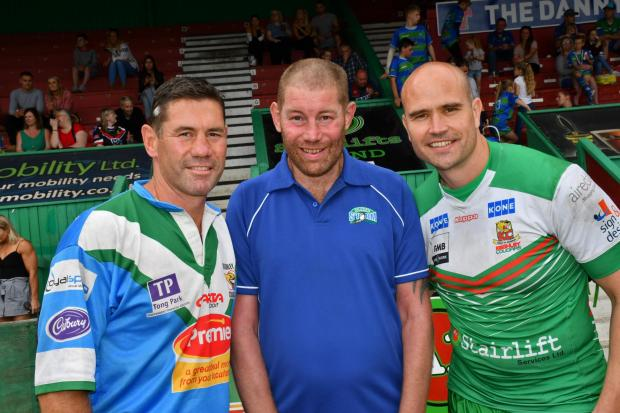 Former Cougars captain Phil Stephenson (centre) with Andy Stephenson and Craig Lingard during a charity match to raise funds for the Motor Neurone Disease Association in 2018 Picture: Richard Leach