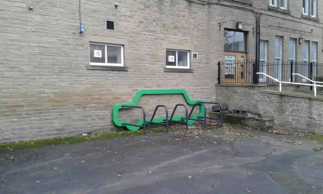 The cycle rack in the disabled car park next to Keighley Town Hall