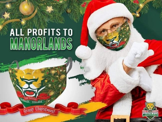 Cougars are selling Christmas face masks to raise more money for Manorlands Picture: @Cougarmania (Twitter)