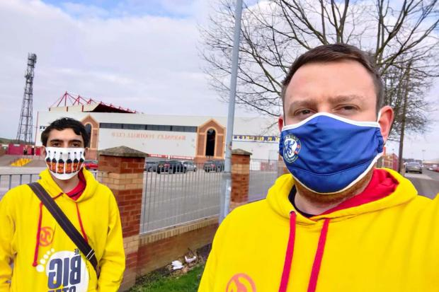 Michael Wilson and Robert Wilson-Rust joined hundreds in walking to their local football stadiums