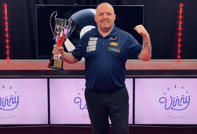 Chris Melling lifting the Champions League Pool trophy last month. Picture: Ultimate Pool.