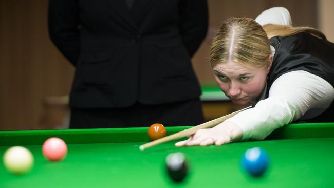 Rebecca Kenna is getting the opportunity to qualify for the world's biggest snooker tournament next week and has been putting plenty of practice in. Picture: WLBSA.