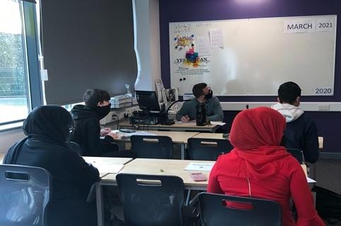 A socially-distanced revision session at University Academy Keighley