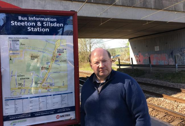 Cllr Adrian Naylor at Steeton & Silsden Station